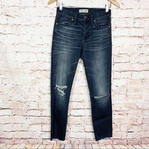 Madewell Dark Acid Wash Raw Hem High Rise Jeans